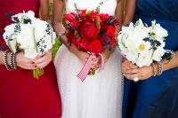 A White Wedding; with a touch of red & blue.